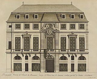 Gravure de la façade sur rue de l'hôtel de Beauvais, par Jean Marot