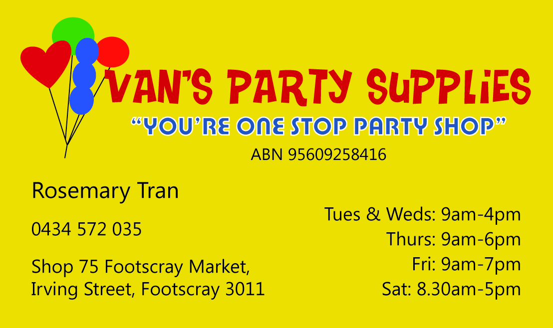 Van S Party Supplies The Business Card