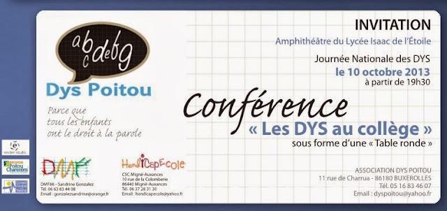 Journée nationale des DYS - conférence à Poitiers 10 octobre 2013