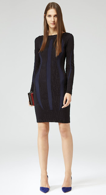 Reiss navy blue and black lace insert bodycon dress