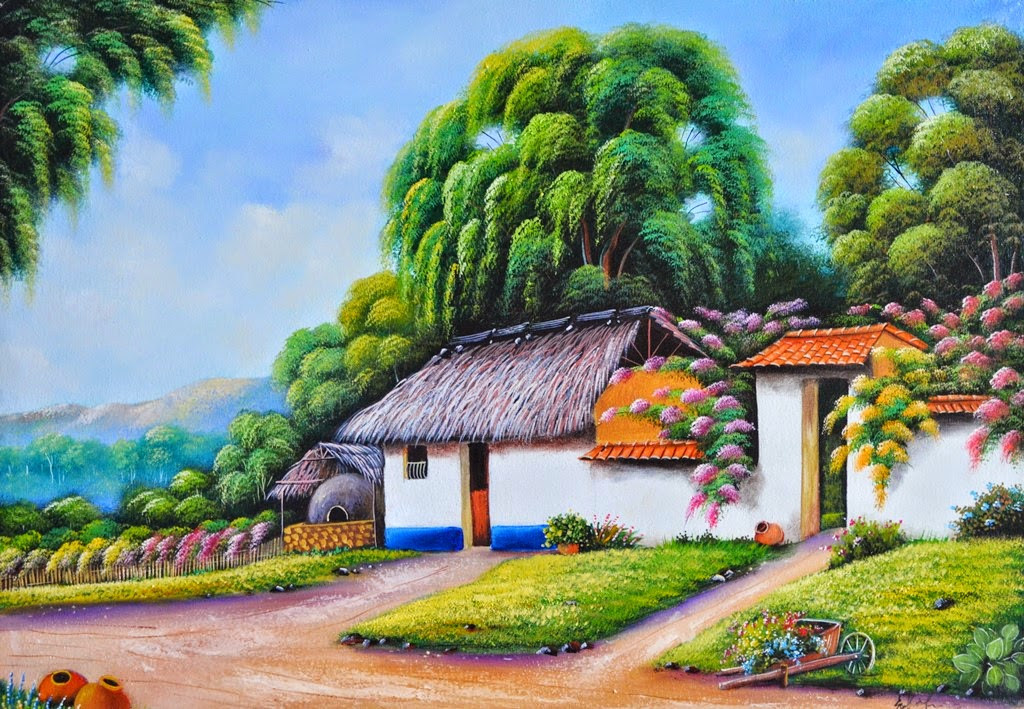 Arte de los paisajes costumbristas y campestres en - Paisajes de casas de campo ...