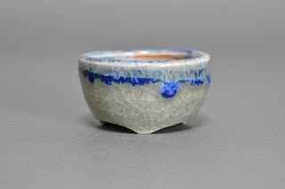 青磁釉丸盆栽鉢(Celadon glaze bonsai pot)h2148