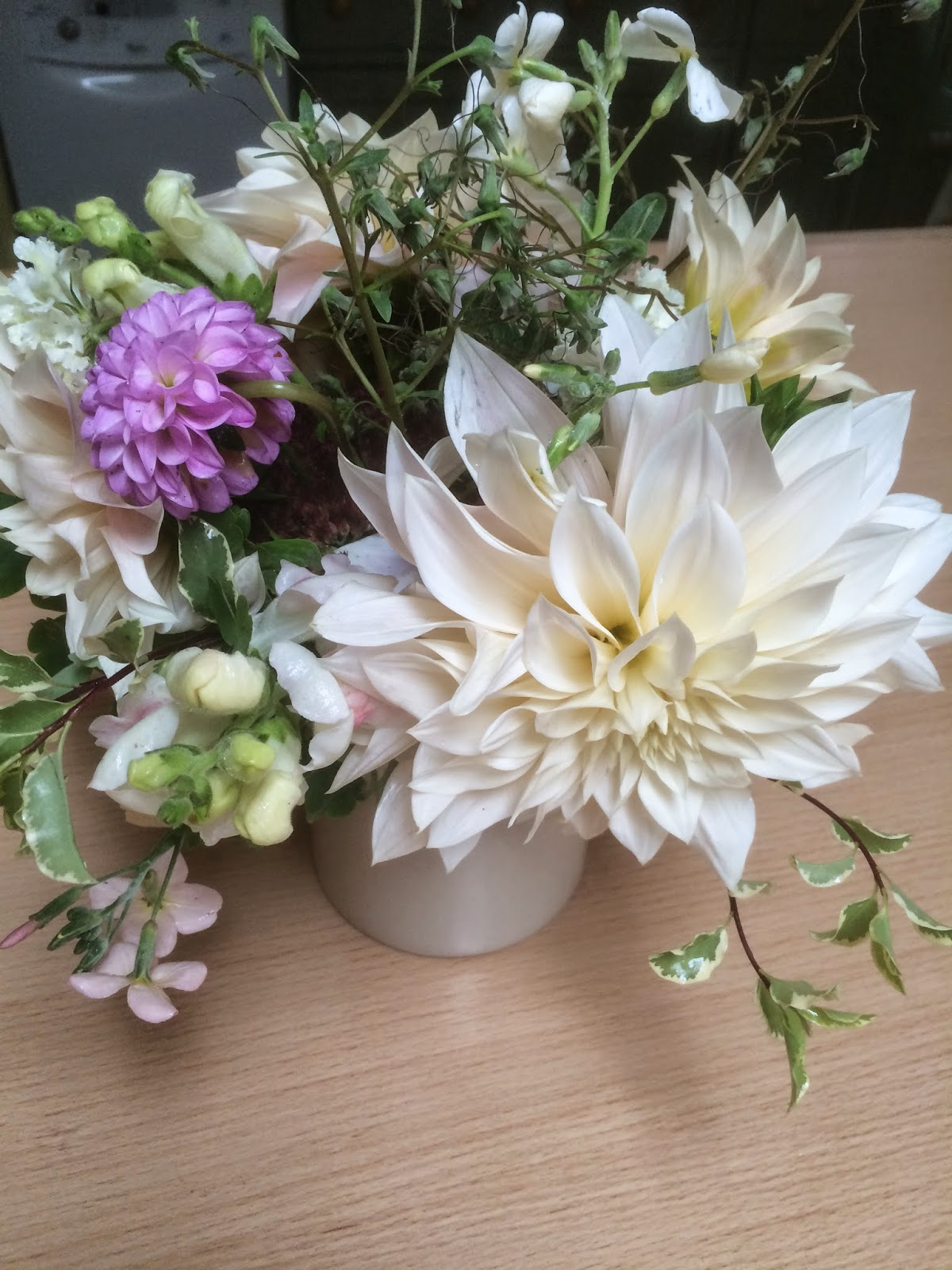 Cafe au lait dahlias in a relaxed bunch of British flowers