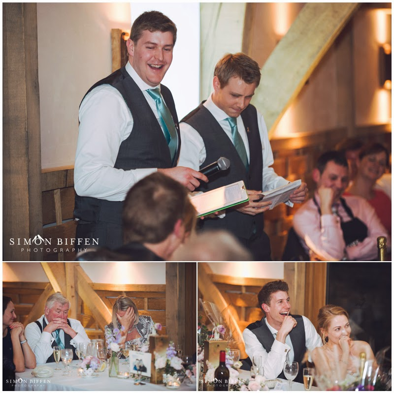 Speeches at wedding at Cripps Barn