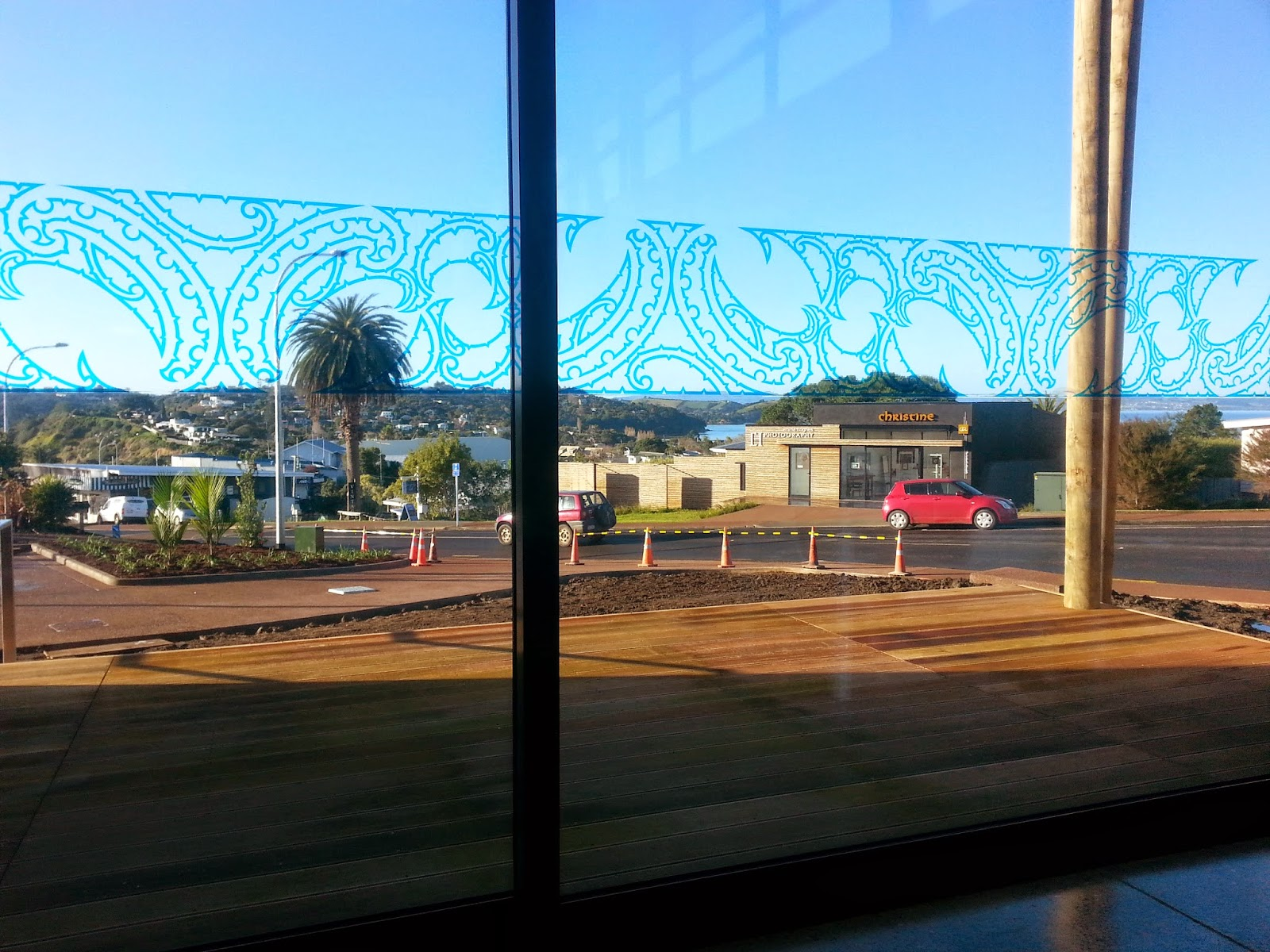 The decorative window at Waiheke Library.