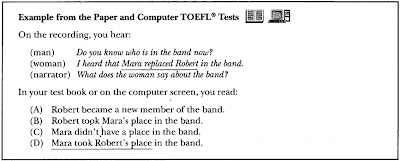 Example:  On the recording, you hear:  (man)      : Do you know who is in the band now? (woman) : I heard that Mara replaced Robert in the band. (narrator): What does the woman say about the band?  In your test book, you read:  (A)  Robert became a new member of the band (B)  Robert took Mara's place in the band. (C) Mara didn't have a place in the band.