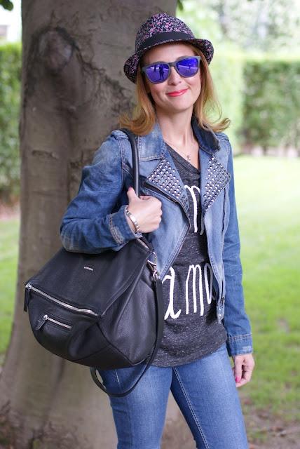 Zara denim motorcycle jacket, Givenchy Pandora bag, Fashion and Cookies