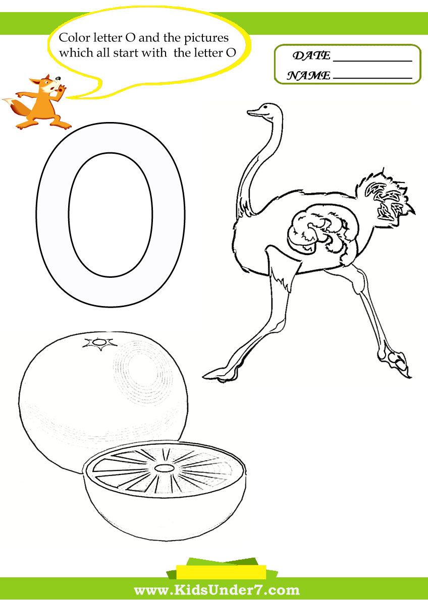 Kids Under 7 Letter O Worksheets and Coloring Pages – Letter O Worksheets Kindergarten