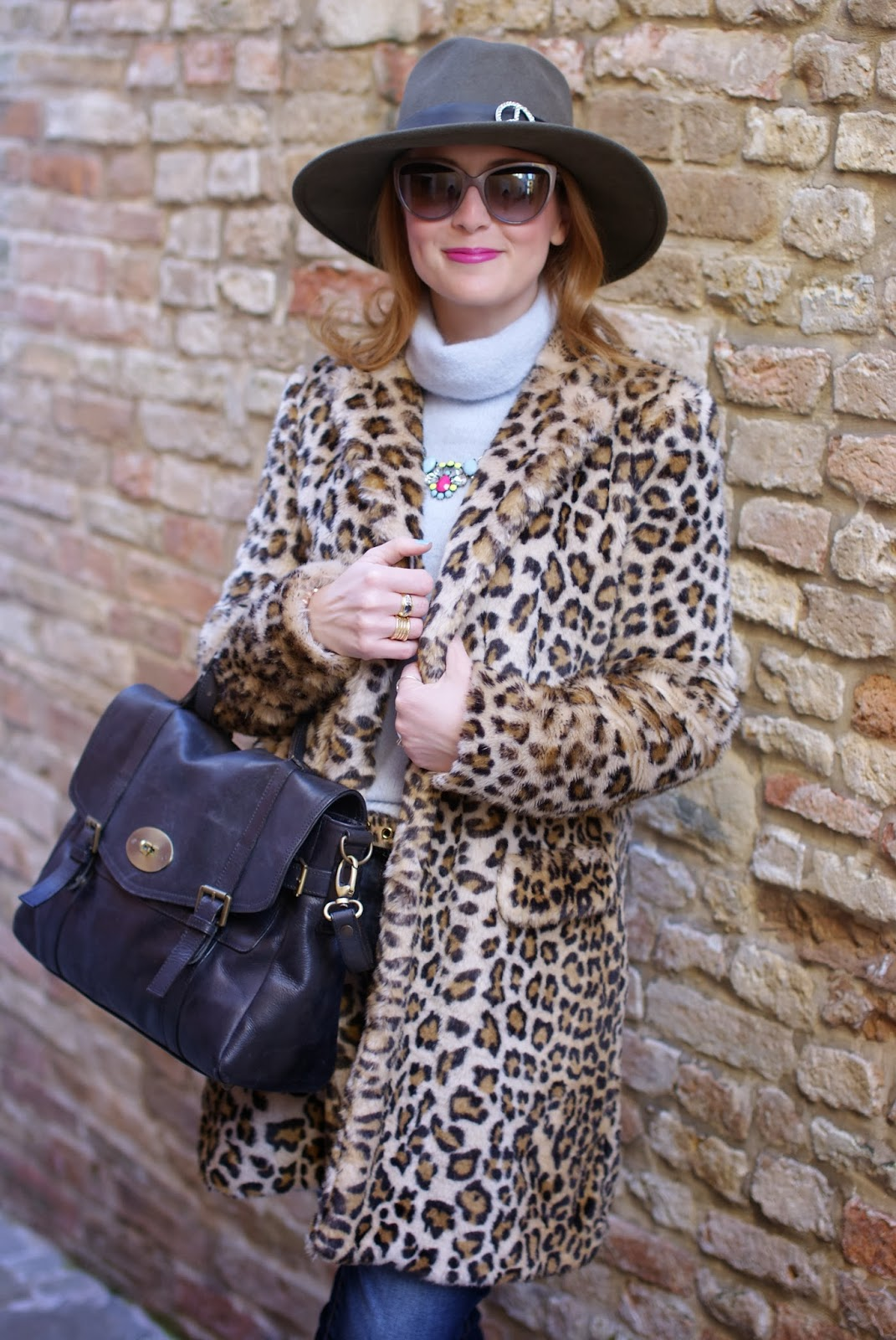 Zara leopard faux fur coat, Ecua-Andino australian hat, satchel bag, Fashion and Cookies, fashion blogger