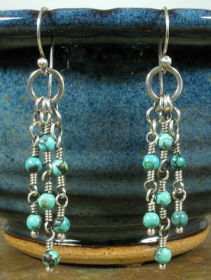 Cicada Silver:  Sterling silver & turquoise earrings
