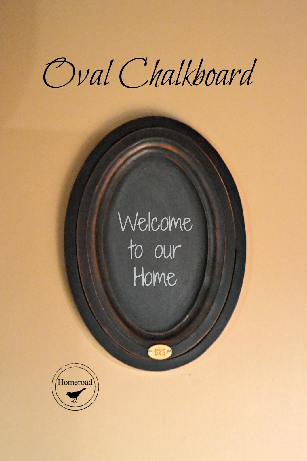 oval chalkboard with metal tag www.homeroad.net