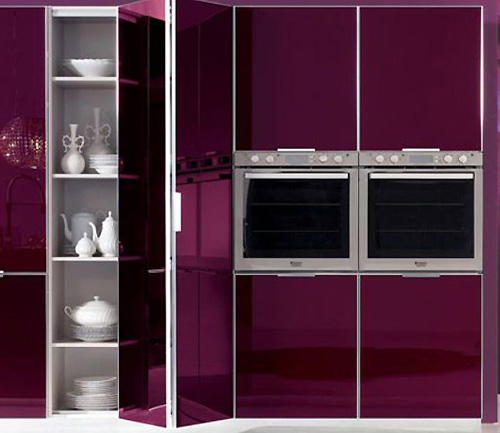 Modern Kitchen Purple Storage Design