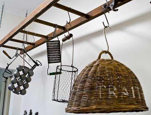Decorating with ladders 25 creative ways the cottage market for Pot shelf decorating ideas