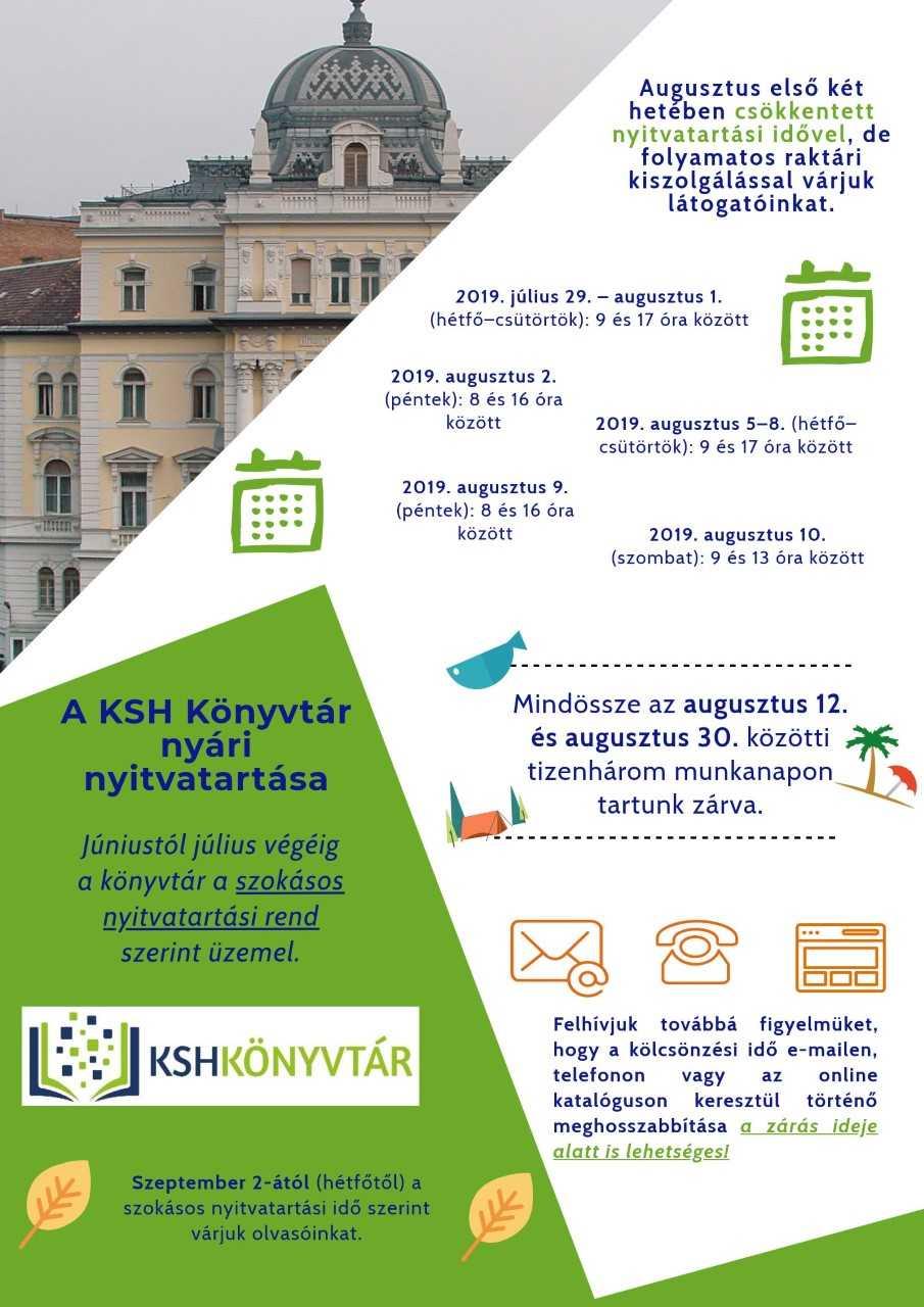 A KSH Könyvtár nyári nyitvatartása