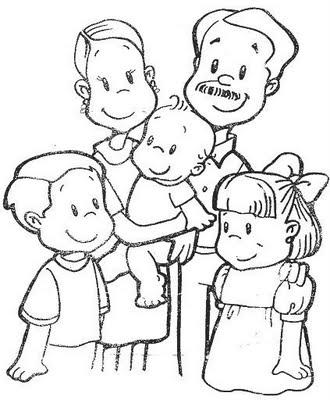 Familia nuclear para colorear - Imagui