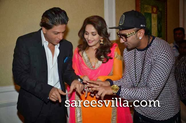 Shah Rukh Khan, Madhuri Dixit and singer Yo Yo Honey Singh