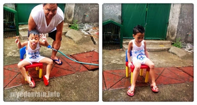 MyeDomain's It's Fun Playing in the Rain / rain bath with papa