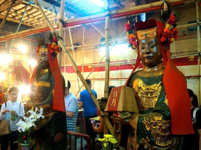 Statues of Taoist gods inside Man Mo Temple, Sheung Wan, Hong Kong