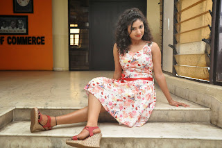 Vishnu Priya Cute Beauty in flower print frock high heels Red Lipstick