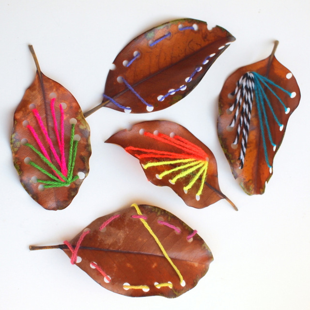 Leaf Sewing Project with kids
