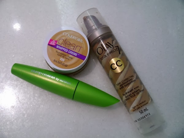 P&G beauty faves: Cover Girl Clump Crusher mascara and Whipped Creme foundation, Olay CC cream