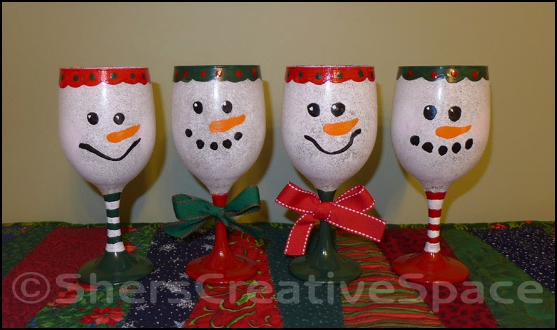 Sher's Creative Space: Tutorial - Painted Snowman Wine Glasses