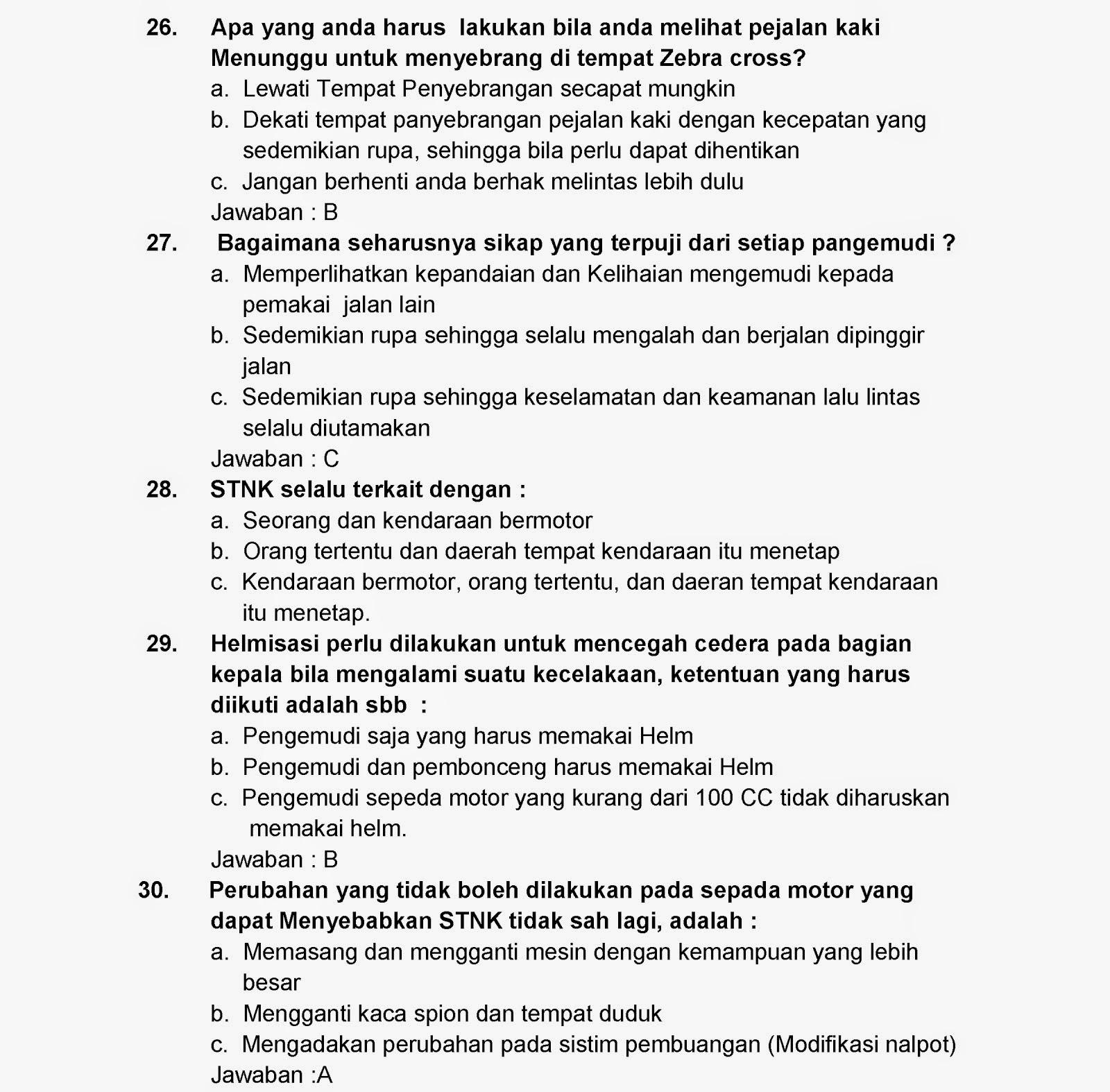 Rahmat S Corp Kisi Kisi Soal Tes Sim C Update