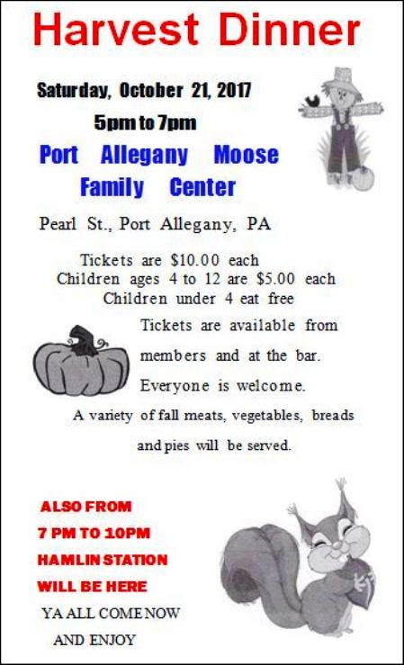 10-21 Harvest Dinner, Port Allegany Moose