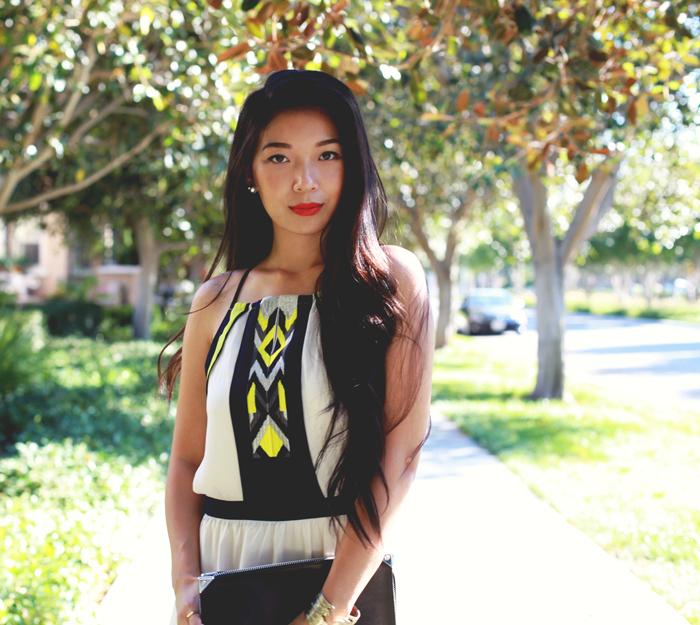 Stephanie Liu of Honey & Silk wearing Greylin dress, Tacori earrings, Shoemint heels, and Alexander Wang clutch
