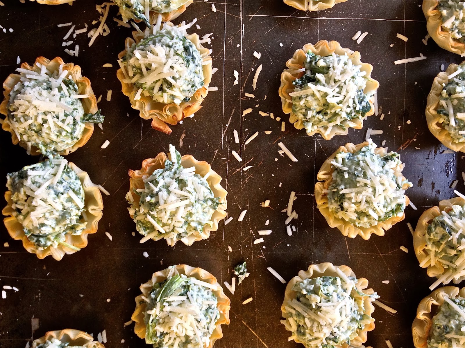 Challenger sweets spinach artichoke canap s for How to make canape shells