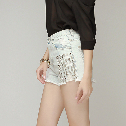 Revenge Spiked Denim Shorts