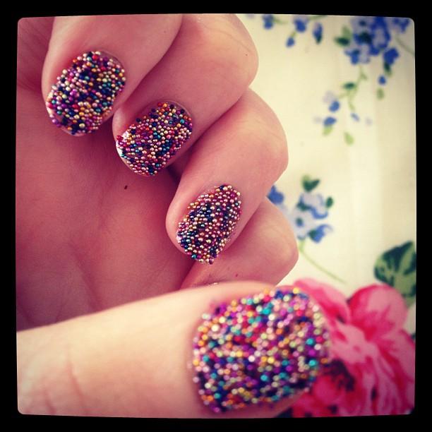 budget DIY Caviar nails