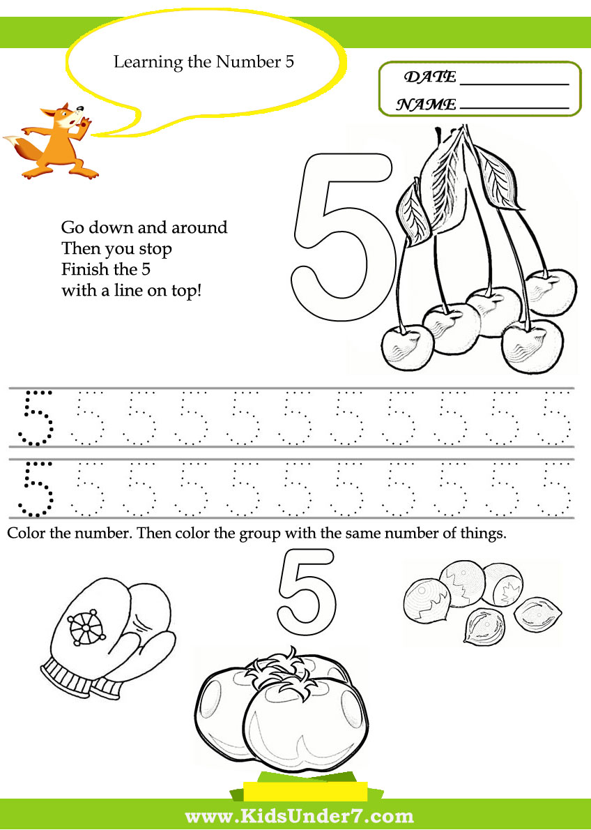 Kids Under 7 Free Printable Kindergarten Number Worksheets – Kindergarten Numbers Worksheets