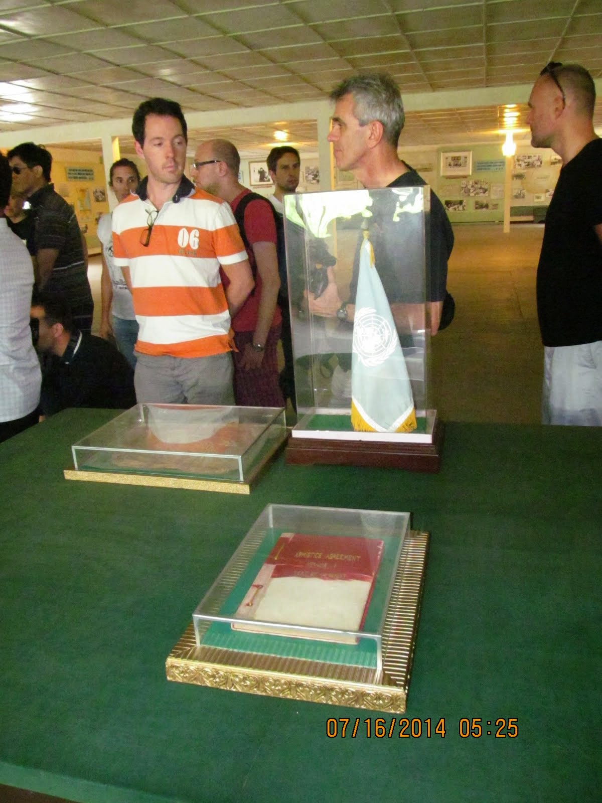 Armistice Agreement under plexiglas, North Korean Panmungak Hall, DMZ between the two Koreas