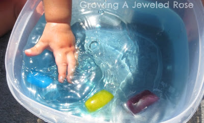ice and water baby play activity
