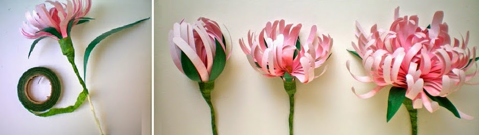 Crisantemos de Papel, Tutorial, Flores
