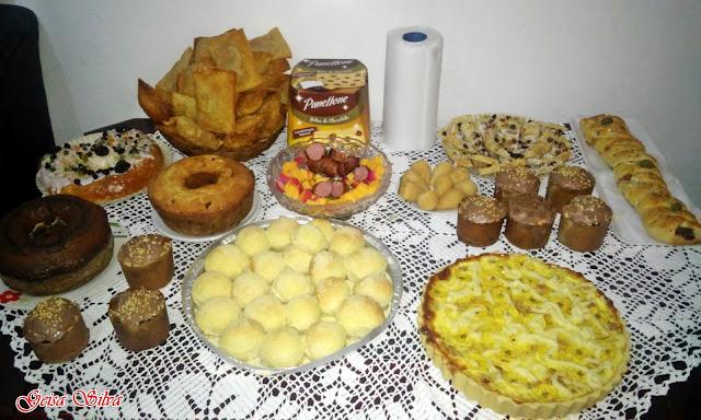 Pastel, panettone, coxinha, bolos, pão de queijo, torta salgada ...
