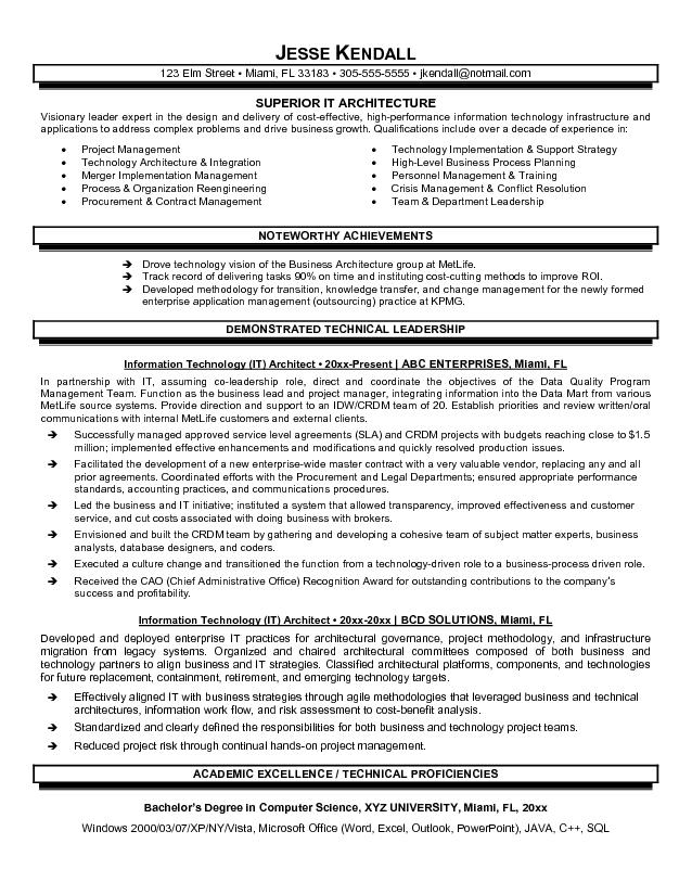 Architect Resume Architect Resume Sample  Technical Architect Resume