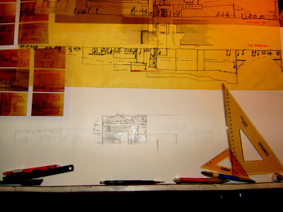 Drawing board architecture architect layered drawing