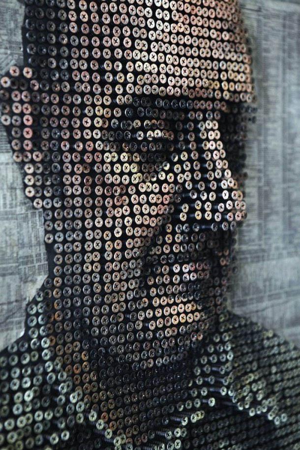 Arte com parafusos - retratos de Andrew Meyers