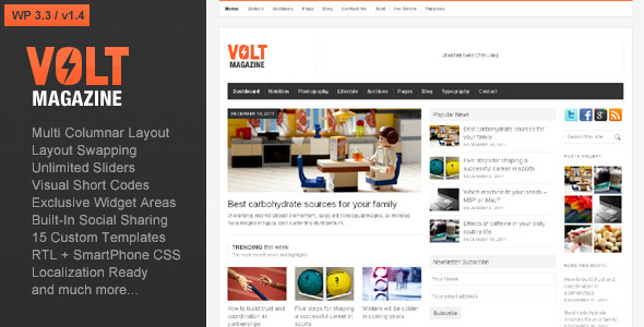 Volt - Magazine WordPress Theme Free Download by ThemeForest.