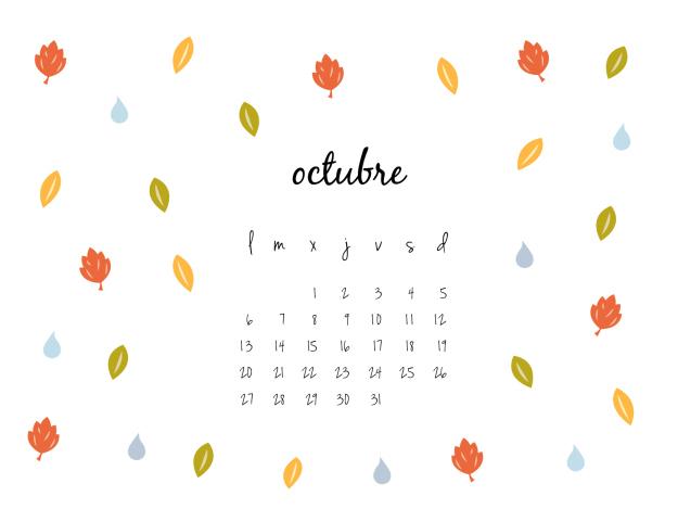 Wallpaper Calendario de Octubre 2014