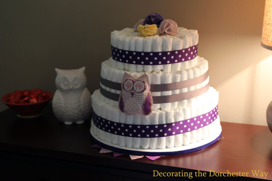 Decorating the Dorchester Way: Gray and Purple Owl Diaper Cake