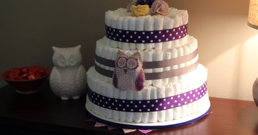 Owl Diaper Cake Decorations : Decorating the Dorchester Way: Gray and Purple Owl Diaper Cake