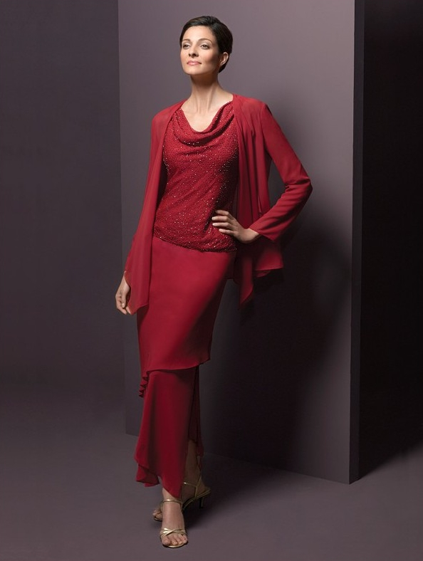 red mother of the bride dress with jacket