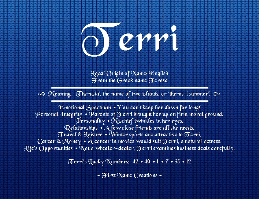 Pin by nia kirchhoff on tell me your name for Terris meaning