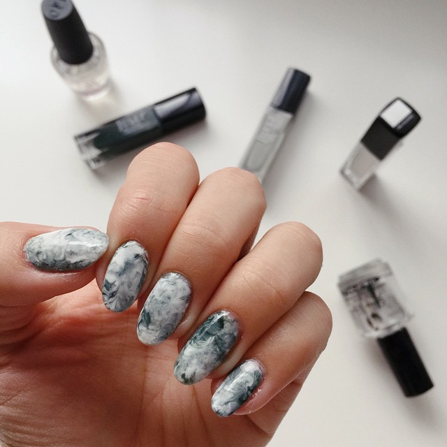 Its Because I Think Too Much Marble Print Nail Art Tutorial