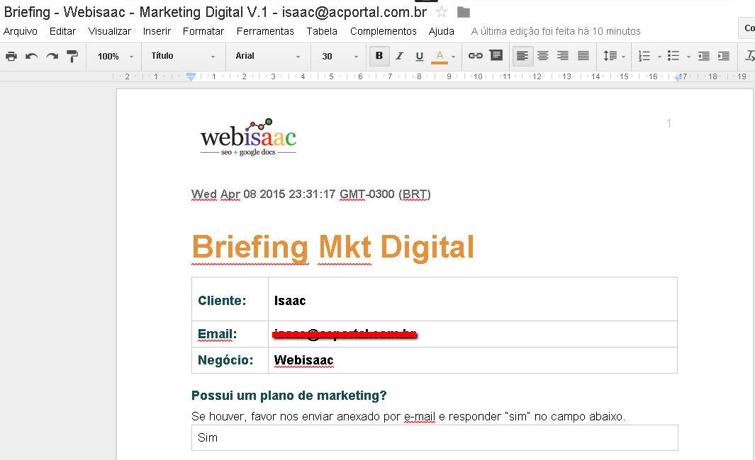 Documento gerado a partir de dados salvos em planilha do Google Docs/Drive.