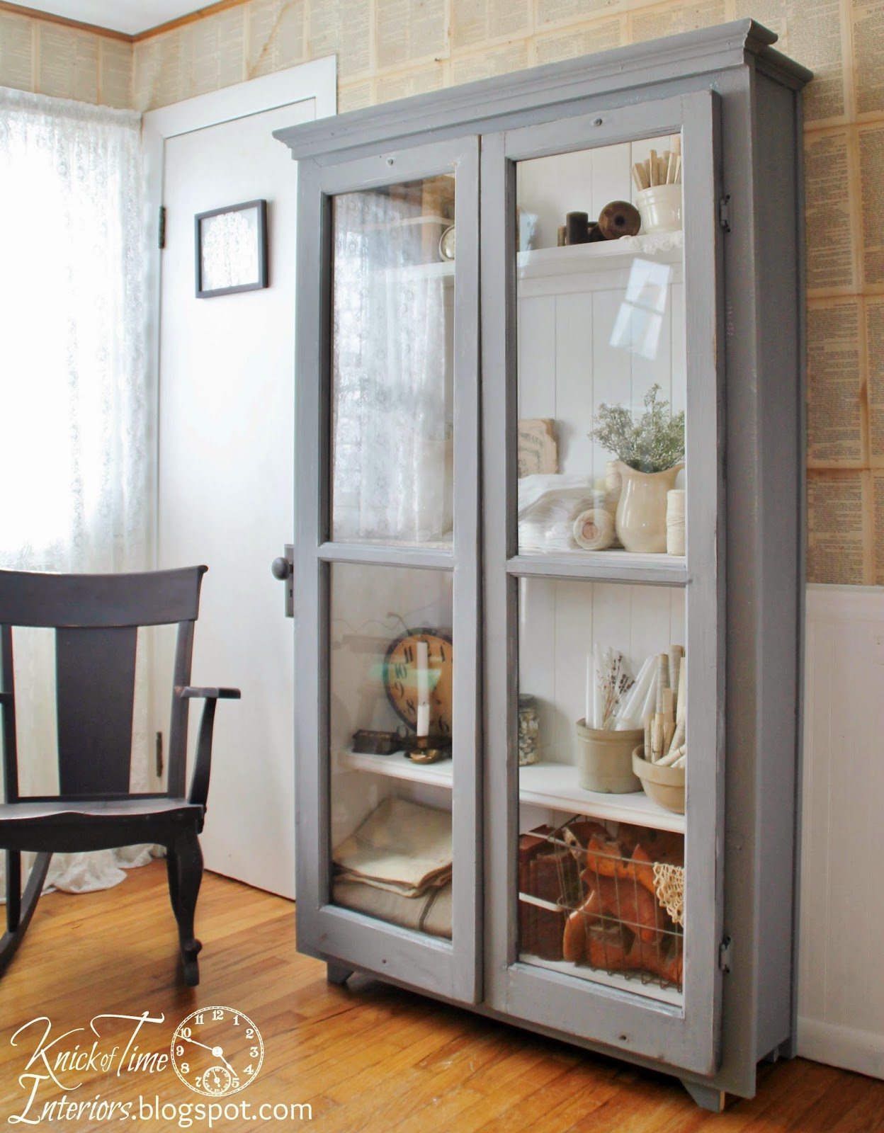 Repurposed Windows into Cupboard inspired by Dreamy Whites - The Making Of An Antique Cupboard Knick Of Time