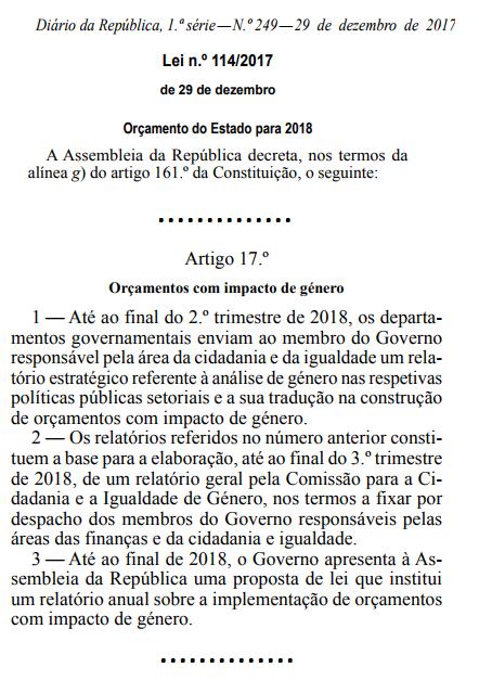 ORÇAMENTOS COM IMPACTO DE GÉNERO